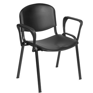 Venus Visitor Chair in Black with Arms - HQS024
