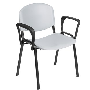 Venus Visitor Chair in Grey with Arms - HQS026